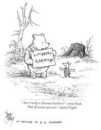 a drawing of Winnie the Pooh and Piglet