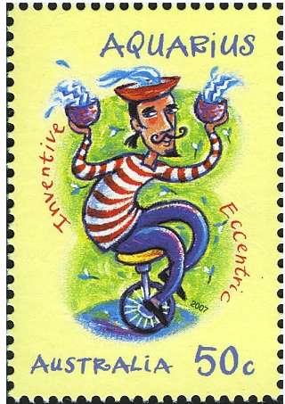 Aquarius Zodiac Stamp