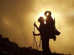 Woman trekking