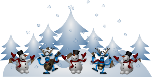 Christmas scene with snowmen