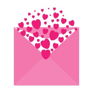 Pink Hearts in a pink envelope