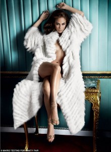 photo of Jennifer Lopez in fur coat