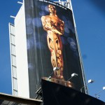photo of Oscar/Academy Award on billboard in Hollywood