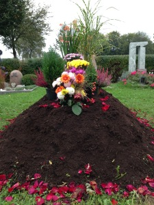 mound of earth with flowers