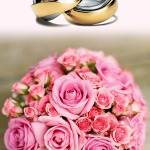 wedding rings and pink roses