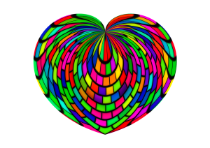 Multi-coloured heart