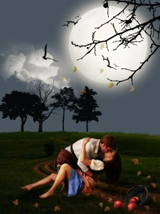 couple kissing under the light of the moon