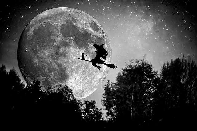 Scorpio season, Full Moon, witch, black cat