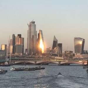 Sagittarius, sunset, cityscape